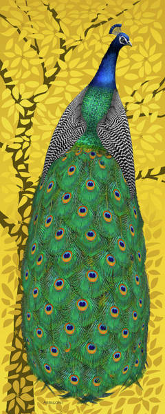 Painting - Peacock In Tree, Naples Yellow, Tall by David Arrigoni