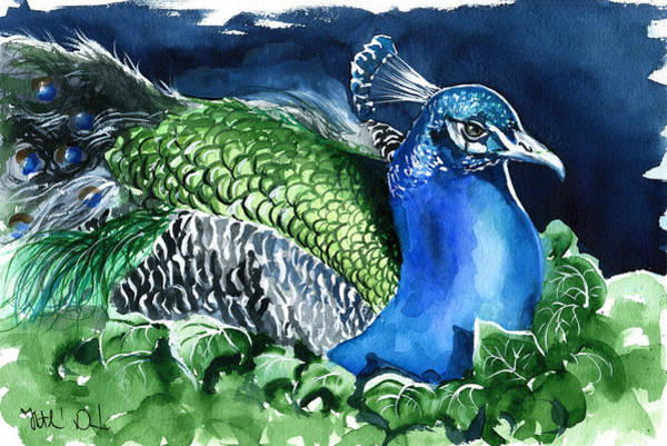 Peafowl Painting - Peacock With Ivy by Dora Hathazi Mendes