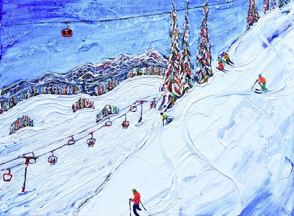 Painting - Peak 2 Peak And Catskiiner Whistler Ski Print by Pete Caswell