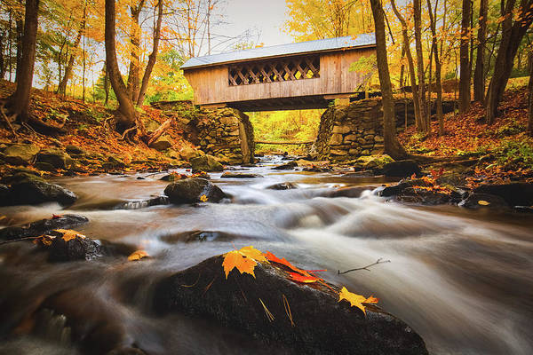 Photograph - Peak Foliage Tannery Hill Bridge by Robert Clifford