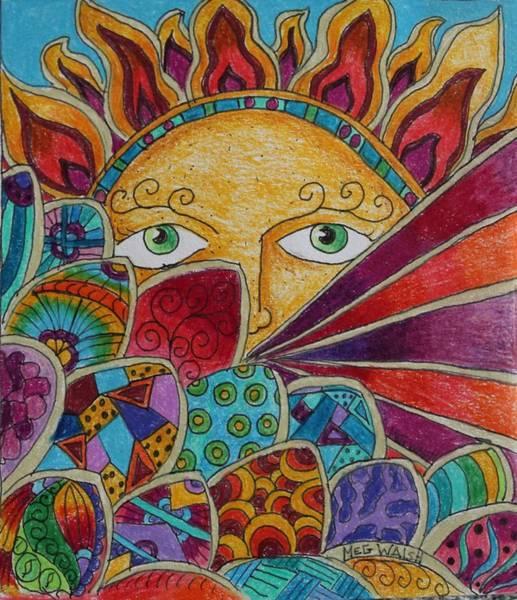 Wall Art - Drawing - Peaking Sun by Megan Walsh