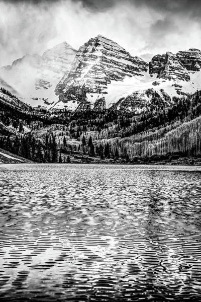 Photograph - Peaks Of Maroon Bells - Aspen Colorado Monochrome by Gregory Ballos