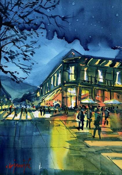 Wall Art - Painting - Pearl Street Nightscene by Ugljesa Janjic