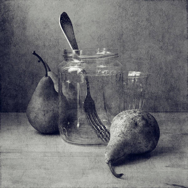 Jar Photograph - Pears, Jar, Glass, Fork by Copyright Anna Nemoy(xaomena)