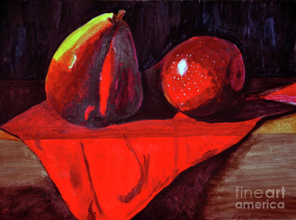 Primary Colors Mixed Media - Pears by Lori Moon