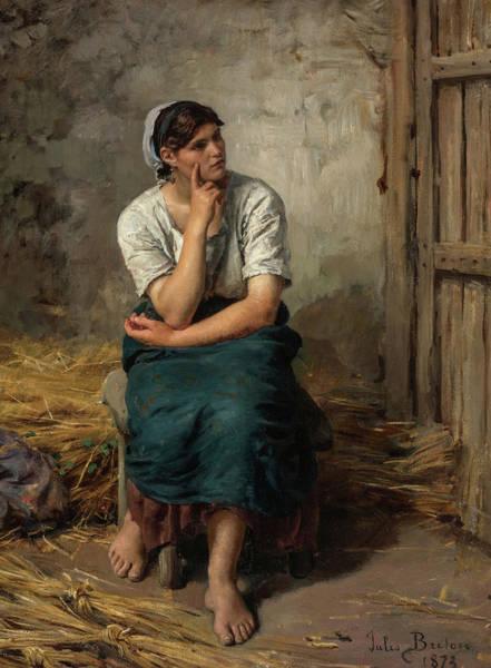 Wall Art - Painting - Peasant Girl Resting by Jules Breton