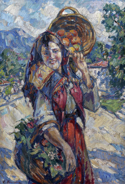 Russian Impressionism Wall Art - Painting - Peasant Girl With Fruit And Flowers by Konstantin Korovin