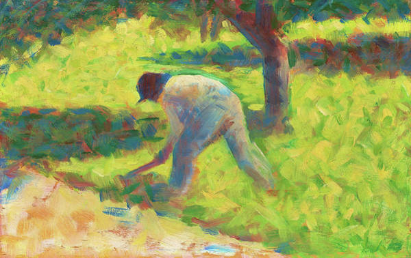 Wall Art - Painting - Peasant With A Hoe - Digital Remastered Edition by Georges Seurat