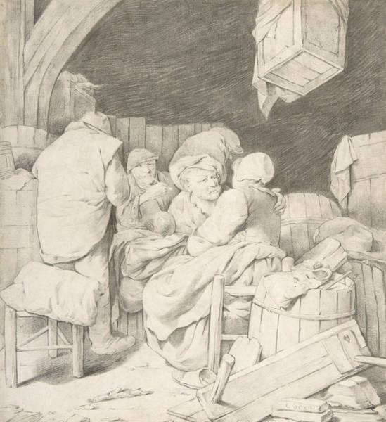 Drawing - Peasants Gathered At An Inn by Cornelis Pietersz Bega