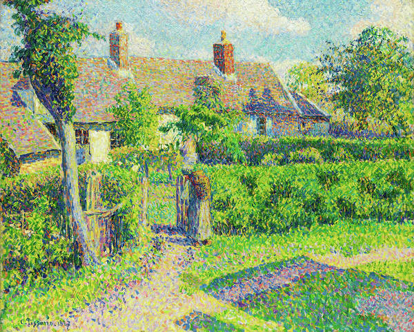 Country Living Painting - Peasants' Houses, Eragny - Digital Remastered Edition by Camille Pissarro