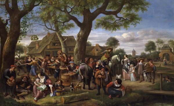Wall Art - Painting -  Peasants Merrymaking Outside An Inn, Fair At Warmond by Jan Steen