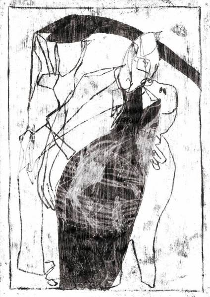 Drawing - Pecking Geese by Artist Dot