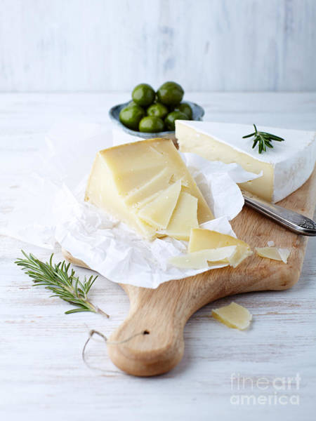 Dairy Photograph - Pecorino And Brie Cheese On A Kitchen by Barbara Dudzinska