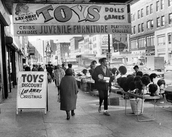 Merchandise Photograph - Peddlers Go About Selling Their Goods by New York Daily News Archive