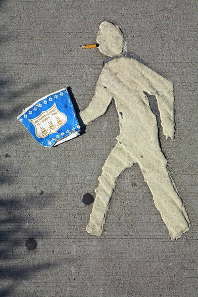 Wall Art - Photograph - Pedestrian Crossing Sign With Coffee by Eric Anthony Johnson