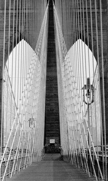 Walking Photograph - Pedestrian Walk On The Brooklyn Bridge by Alfred Eisenstaedt