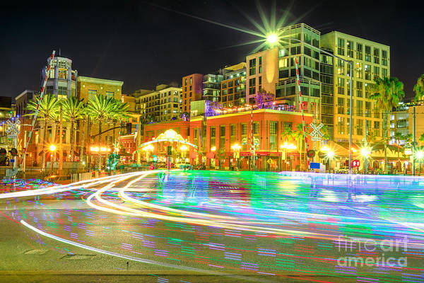 Photograph - Pedicabs Lighting In San Diego by Benny Marty