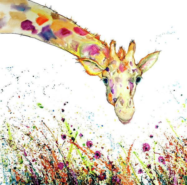 Wall Art - Painting - Peek A Boo Giraffe Oil Painting  by Kim Guthrie