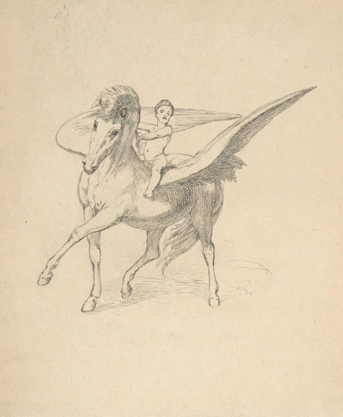 Drawing - Pegasus And The Young Bellephron by Max Klinger