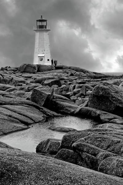 Wall Art - Photograph - Peggy's Point Lighthouse - Black And White by Nikolyn McDonald