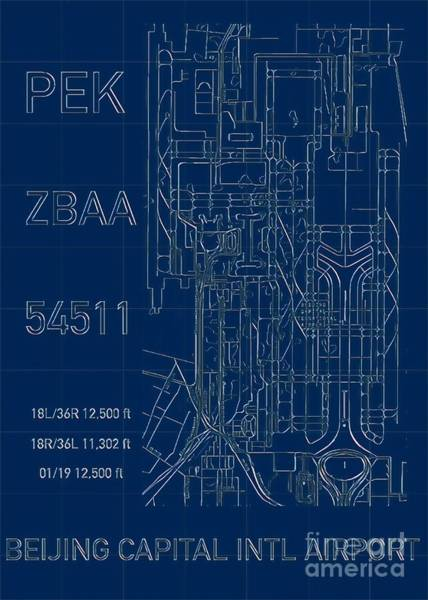 Digital Art - Pek Beijing Capital Airport Blueprint by Helge