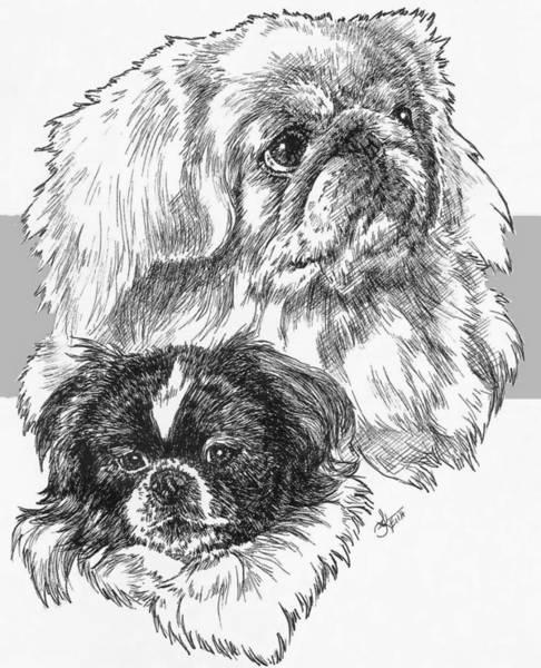 Drawing - Pekingese And Pup by Barbara Keith