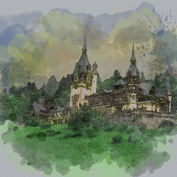 Pele Digital Art - Peles Castle Romania Watercolor by Mira Minerva