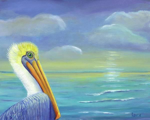Wall Art - Painting - Pelican Dawn by Laura Zoellner