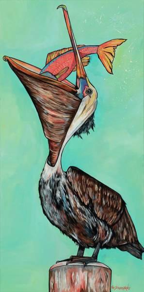Painting - Pelican On The Edge by Patti Schermerhorn