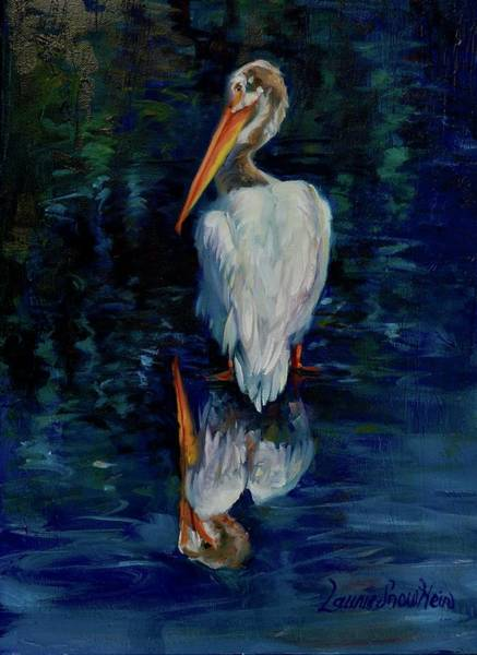 Pelican Wall Art - Painting - Pelican Puddle by Laurie Snow Hein