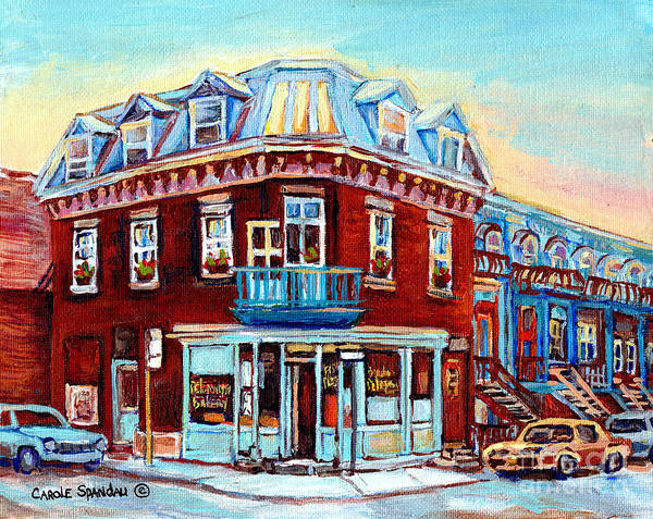 Painting - Peloponissos Boulangerie Corner Napoleon And Debullion 1960 Greek Bakery Bread And Pizza C Spandau by Carole Spandau