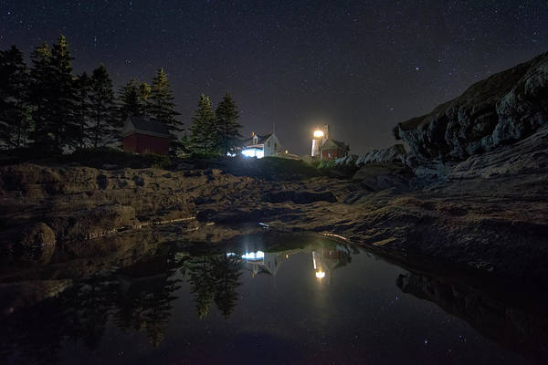 Photograph - Pemaquid Point Lighthouse Under The Night Sky by Kristen Wilkinson