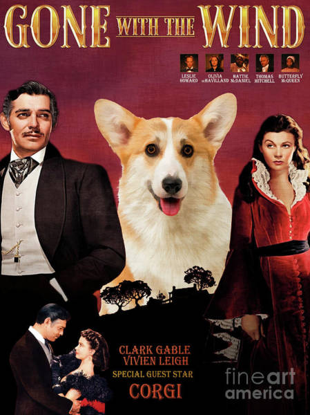 Wall Art - Painting - Pembroke Welsh Corgi Art The Gone With The Wind Movie Poster by Sandra Sij