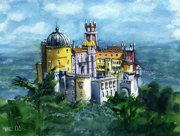 Painting - Pena National Palace In Sintra Portugal by Dora Hathazi Mendes