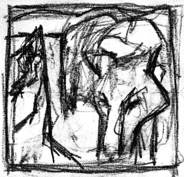 Digital Art - Pencil Squares Black Canine C by Artist Dot