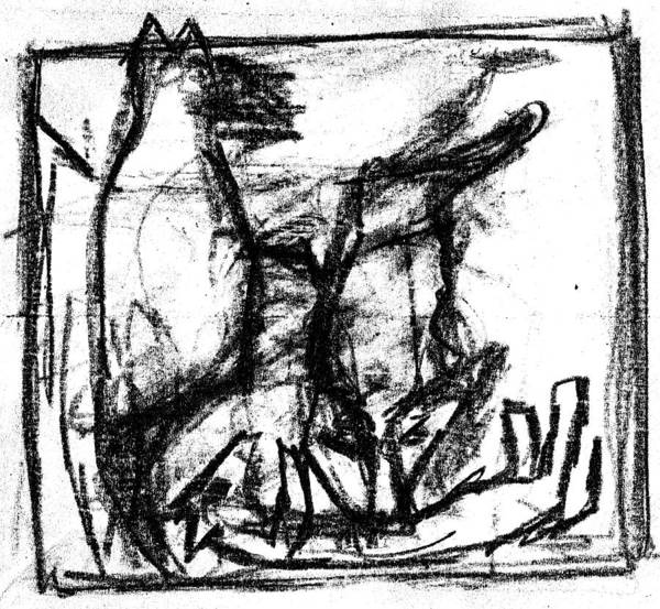Digital Art - Pencil Squares Black Canine D by Artist Dot