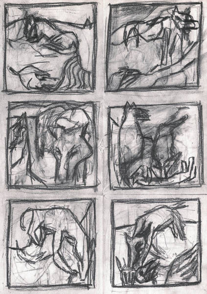 Drawing - Pencil Squares Canine by Artist Dot