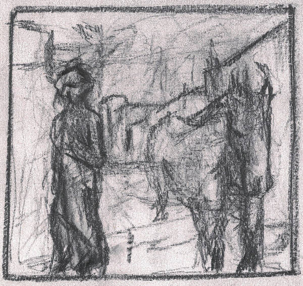 Drawing - Pencil Squares Farm E by Artist Dot