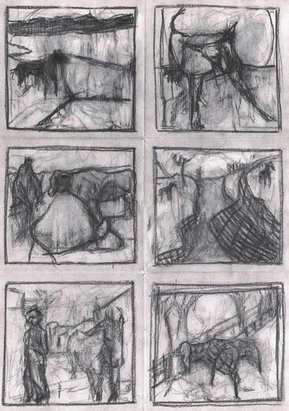 Drawing - Pencil Squares Farm by Artist Dot