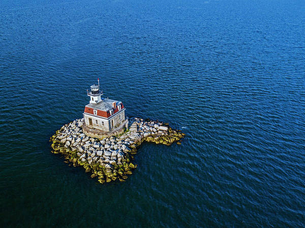 Wall Art - Photograph - Penfield Reef Lighthouse Aerial by Stephanie McDowell