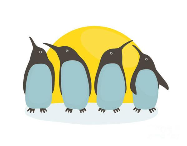 Wall Art - Digital Art - Penguins And Sun. Illustration Of by Popmarleo