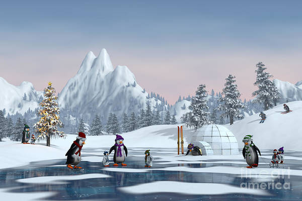 Wall Art - Digital Art - Penguins On A Frozen Lake In A Snowy by Sara Winter