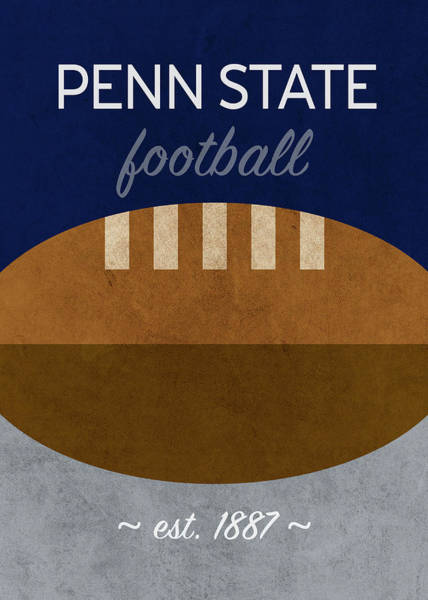 Wall Art - Mixed Media - Penn State Football Minimalist Retro Sports Poster Series 018 by Design Turnpike