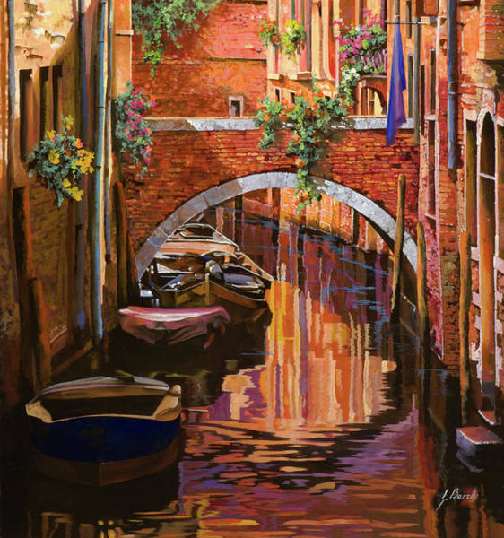 Canal Wall Art - Painting - pennellate viola a Venezia by Guido Borelli