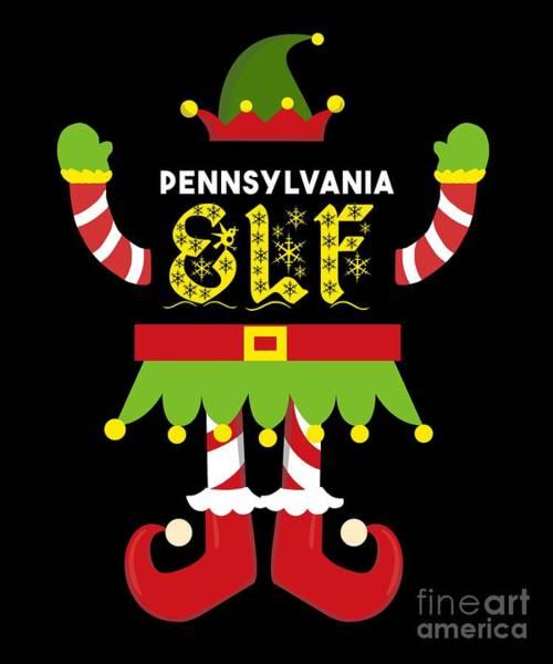 Ugly Digital Art - Pennsylvania Elf Xmas Elf Santa Helper Christmas by TeeQueen2603