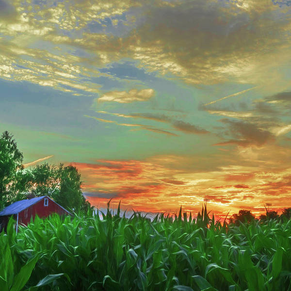 Digital Art - Pennsylvania Farm Sunset by Jason Fink