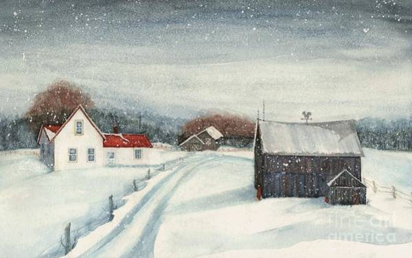 Barn Snow Painting - Pennsylvania Farmhouse - Chance Of Flurries by Janine Riley