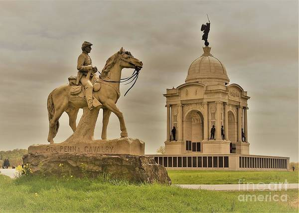 Wall Art - Photograph - Pennsylvania Monuments At Gettysburg by Suzanne Wilkinson