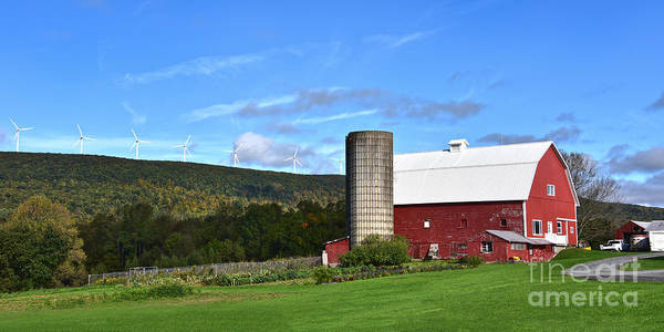 Wall Art - Photograph - Pennsylvania Red Barn And Wind Turbines by Catherine Sherman