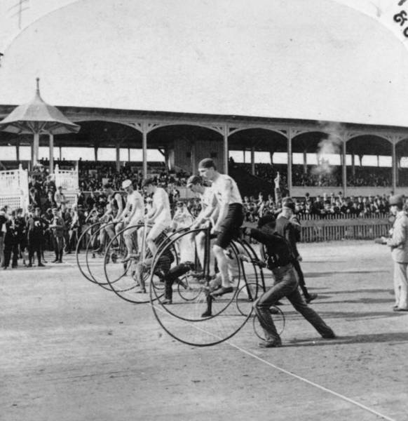Business Cycles Wall Art - Photograph - Penny Farthing Race by George Barker
